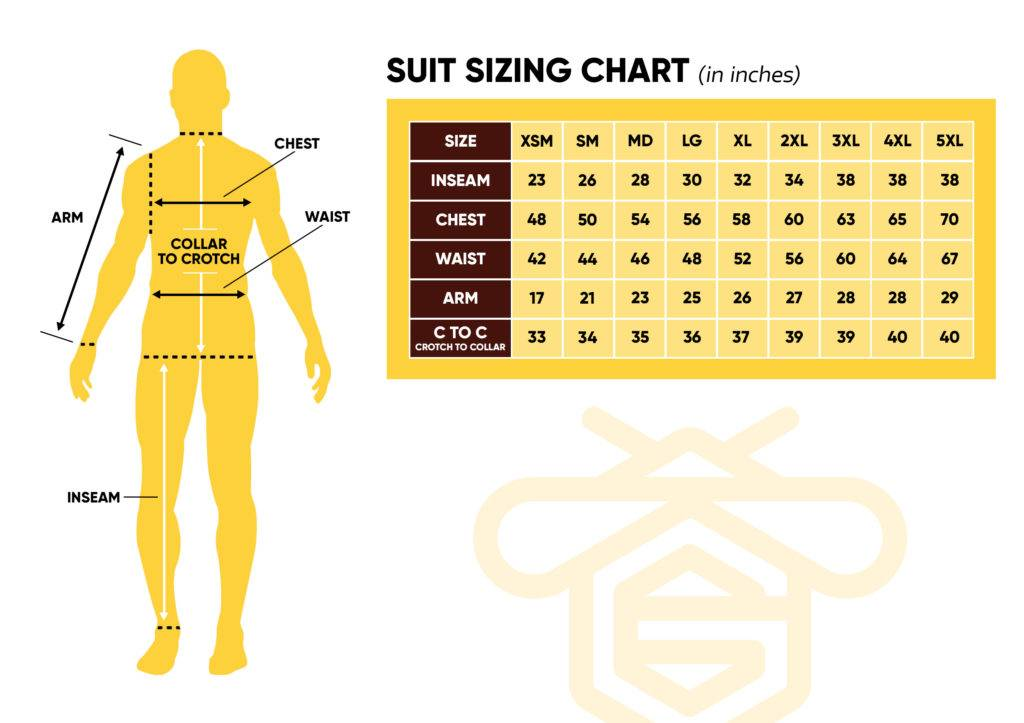 Ventilated Beekeeping Suit Size Chart | Guardian Bee Apparel