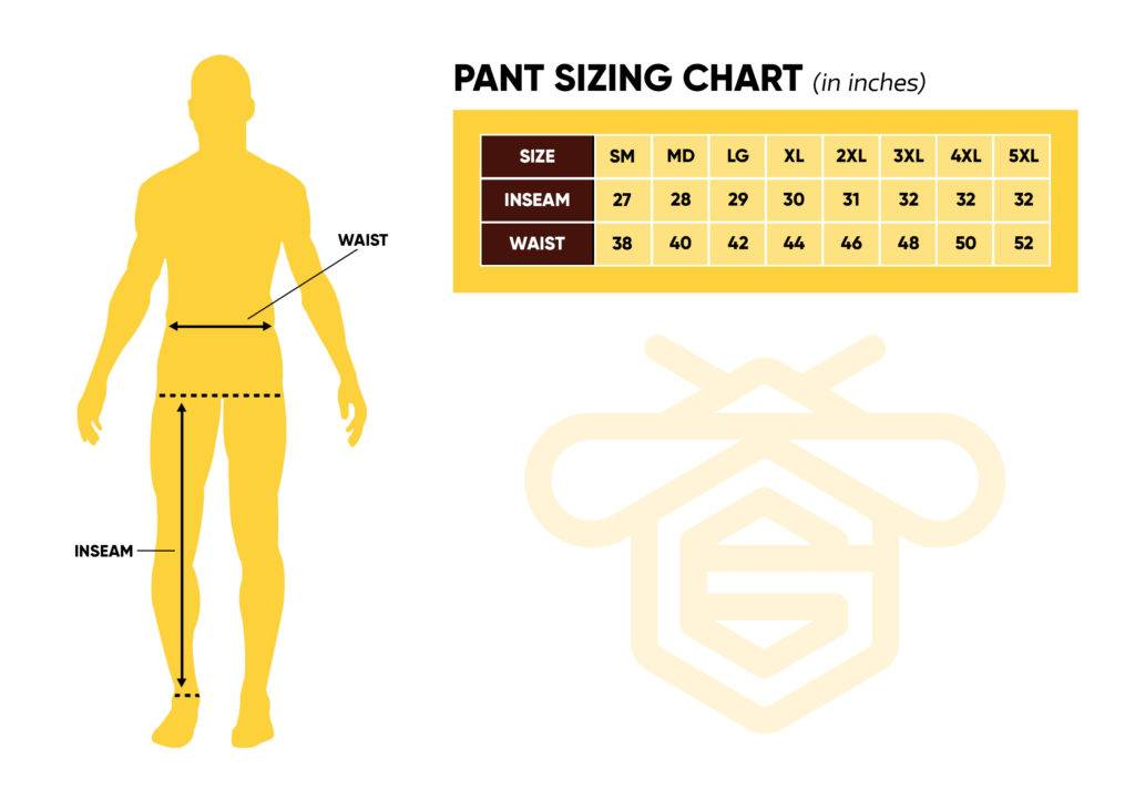 Guardian Bee Apparel | Pants Size Chart